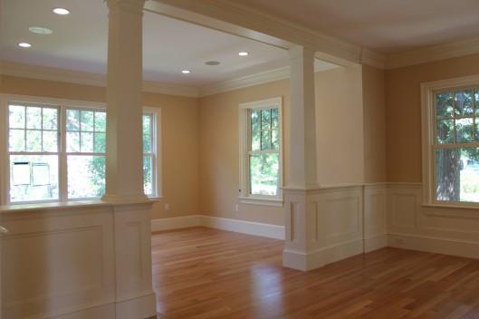 Half wall and columns custom home finish - Half wall interior design ...
