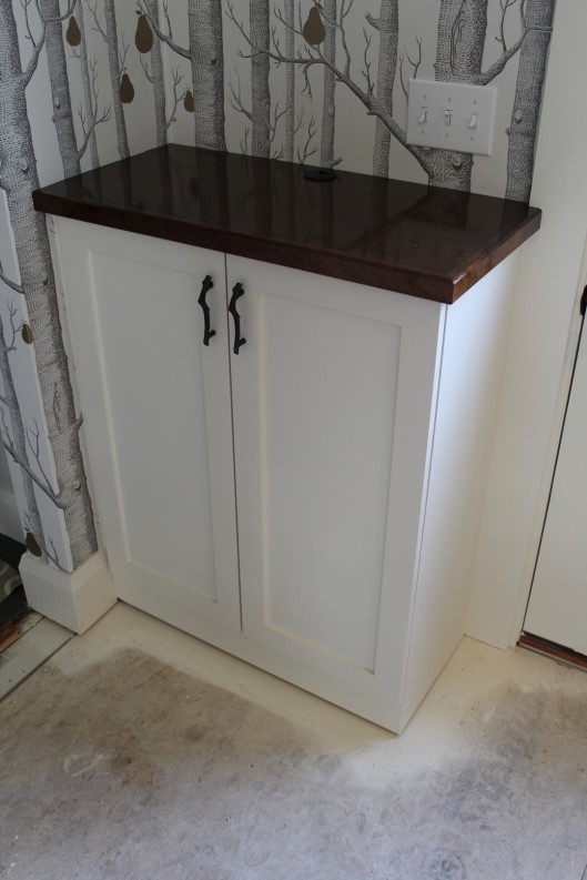 Image of Cabinet with mahogany counter