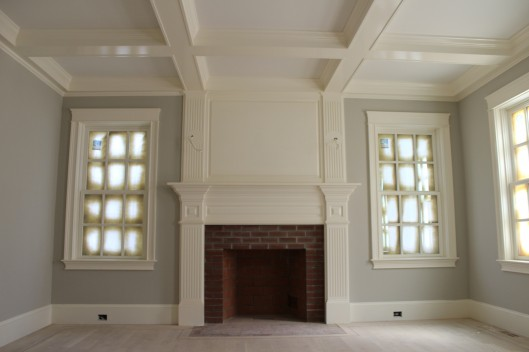 Image of Fireplace Mantle with Coffered Ceiling