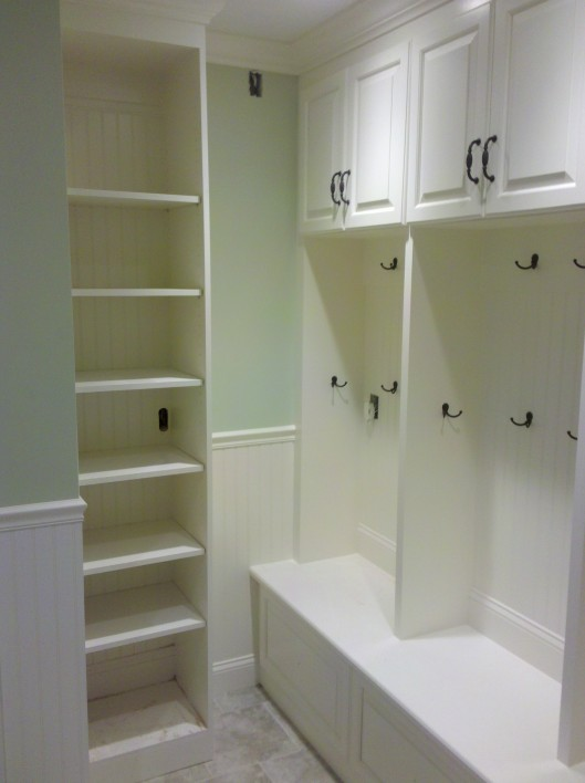 Mudroom lockers custom home finish for Entryway lockers with doors