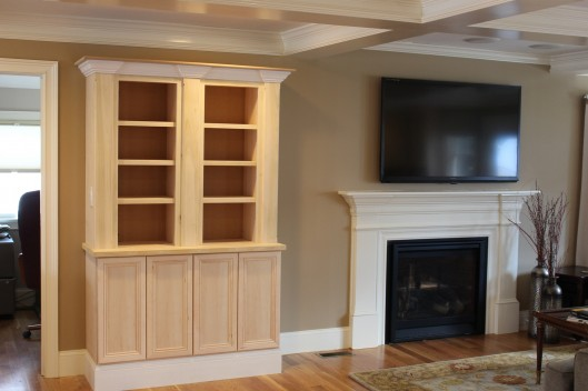 Image of Fireplace Mantle Built In Coffered Ceiling