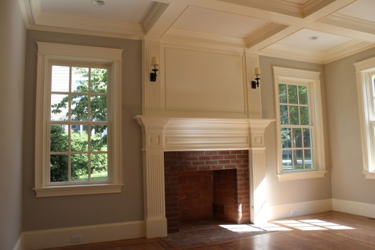 Image of Fireplace Mantle Coffered Ceiling