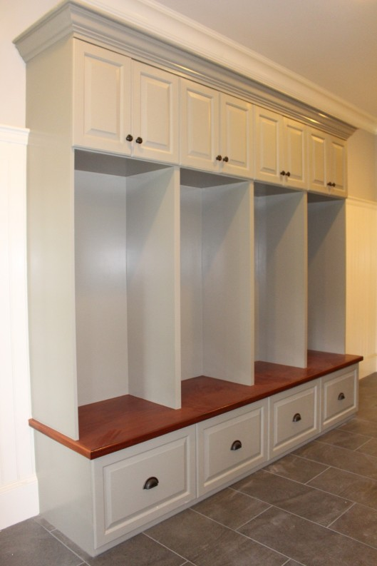 Mudroom Storage Lockers For Sale : Mudroom locker mahogany bench top custom home finish