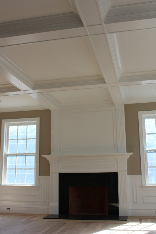Image of Fireplace Mantle and Coffered Ceiling